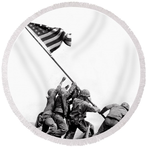 Flag Raising At Iwo Jima Round Beach Towel