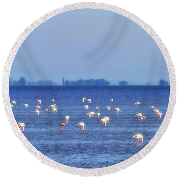 Flamingos In The Pond Round Beach Towel