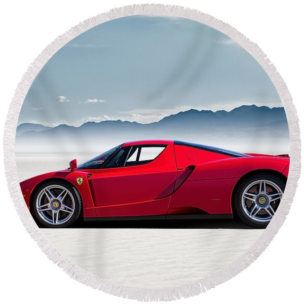 Flat Out  Round Beach Towel
