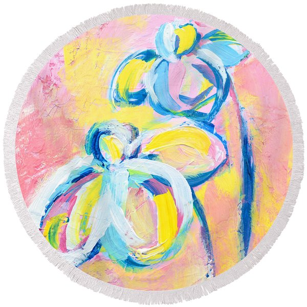 Abstract Flowers Silhouette No 15 Round Beach Towel