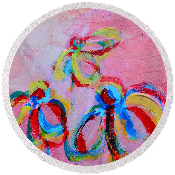 Abstract Flowers Silhouette No 11 Round Beach Towel