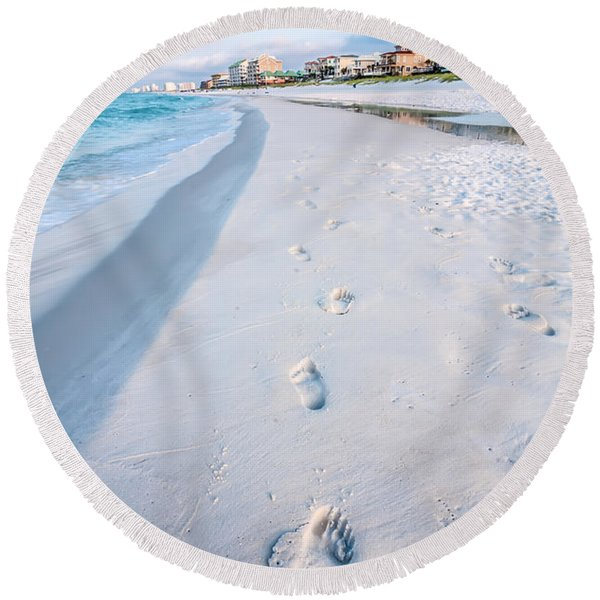 Florida Beach Scene Round Beach Towel