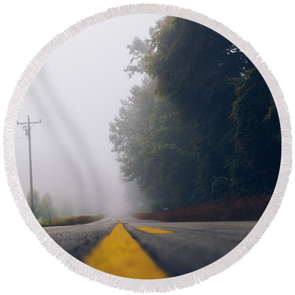 Fog On Highway Round Beach Towel