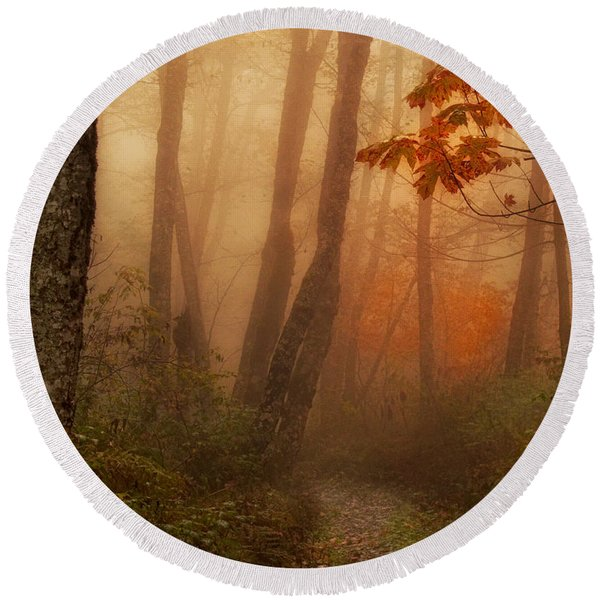Foggy Autumn Round Beach Towel