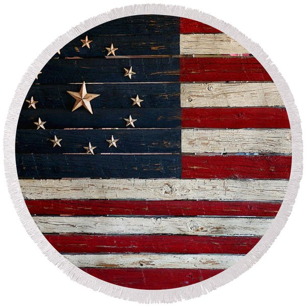 Folk Art American Flag Round Beach Towel