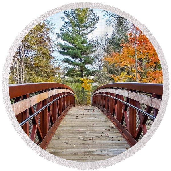 Foot Bridge In Fall Round Beach Towel