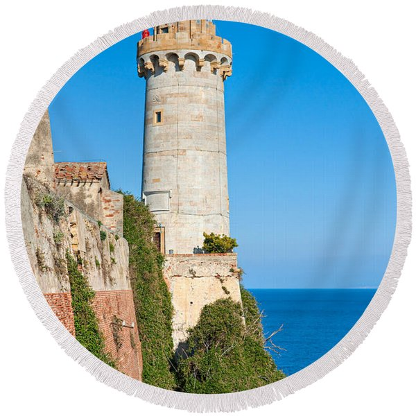 Forte Stella Lighthouse - Portoferraio - Elba Island Round Beach Towel