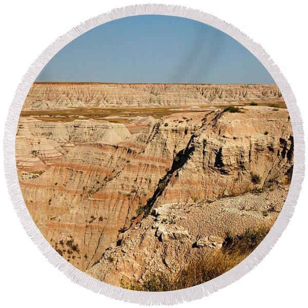 Fossil Exhibit Trail Badlands National Park Round Beach Towel
