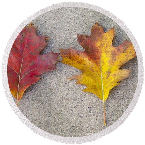 Four Autumn Leaves Round Beach Towel