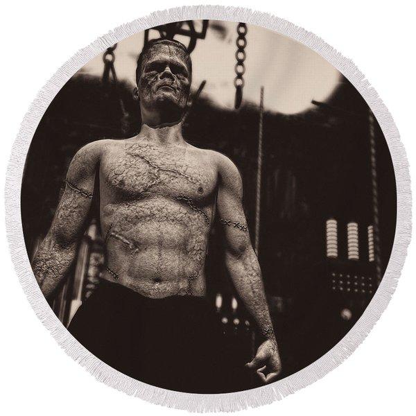 Frankenstein's Science Round Beach Towel
