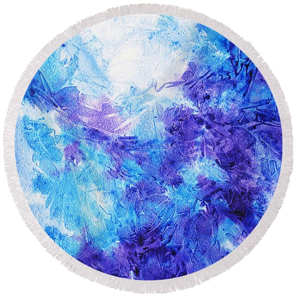 Frosted Blues Fantasy I Round Beach Towel