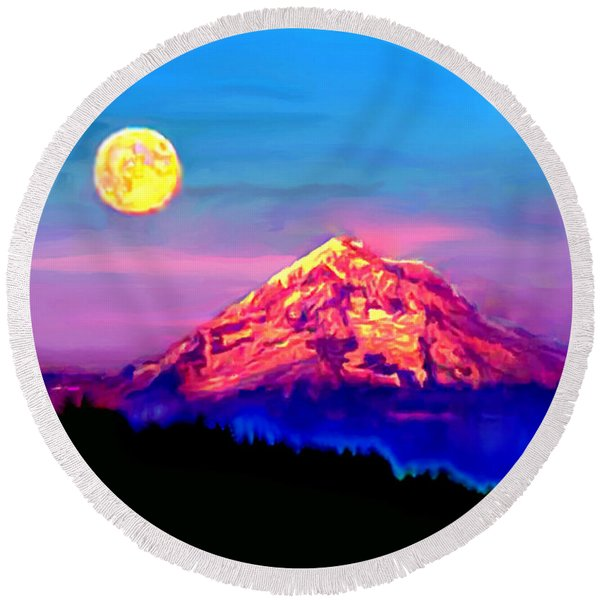 Full Moon Rising Over Mount Hood Oregon Round Beach Towel