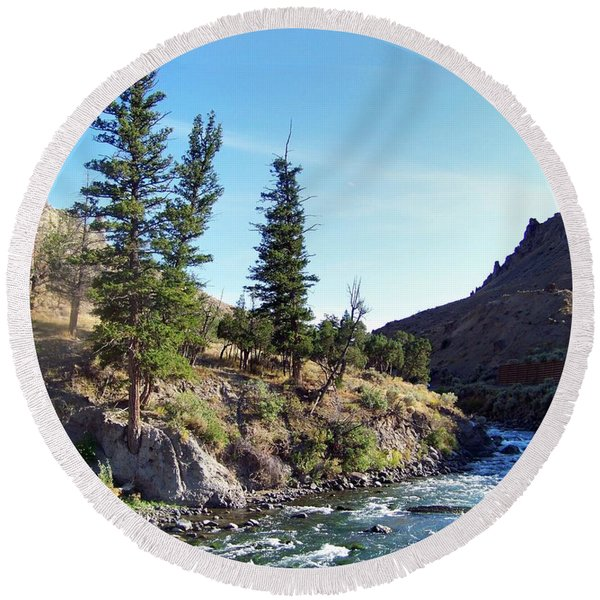 Gardiner River Round Beach Towel