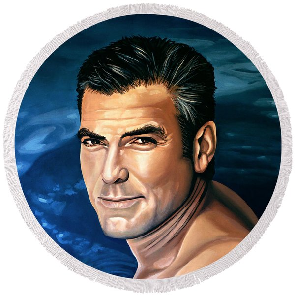 George Clooney 2 Round Beach Towel