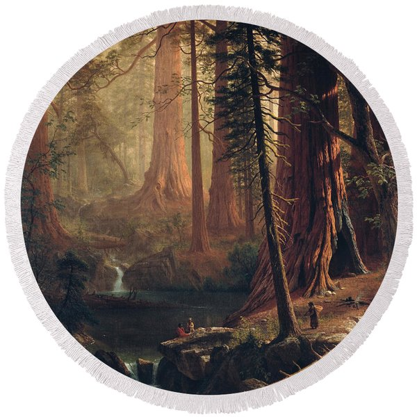 Giant Redwood Trees Of California Round Beach Towel