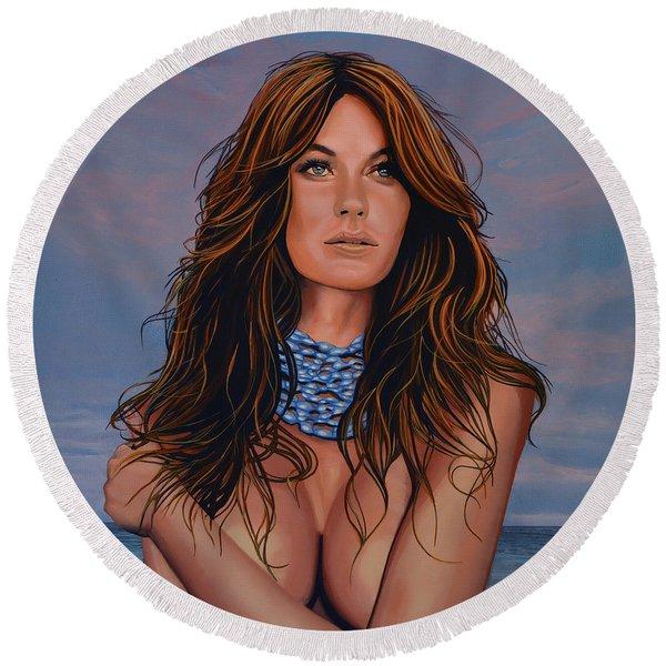 Gisele Bundchen Painting Round Beach Towel