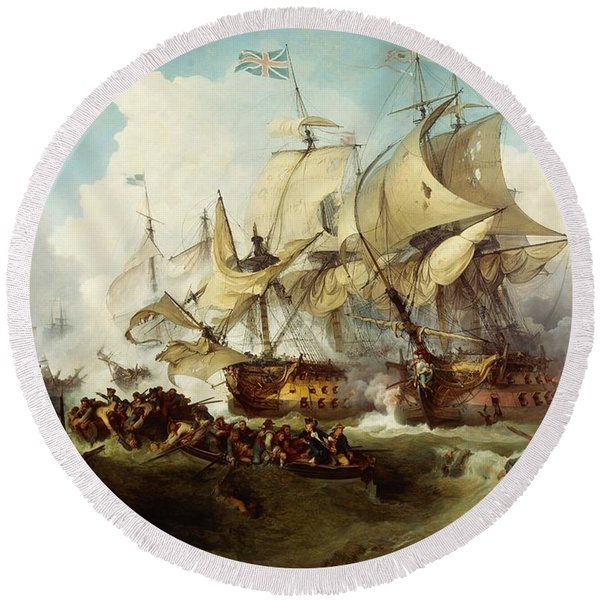 Glorious First Of June Or Third Battle Of Ushant Between English And French Round Beach Towel