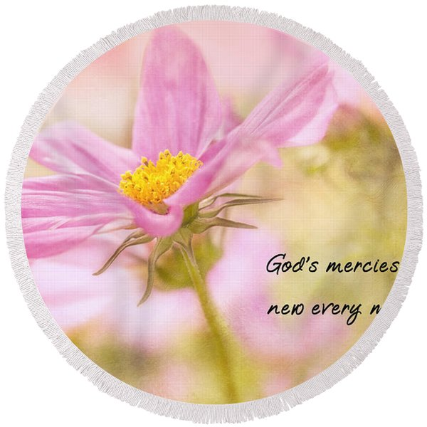 God's Mercies Round Beach Towel