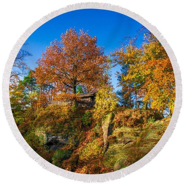 Golden Autumn On Neurathen Castle Round Beach Towel