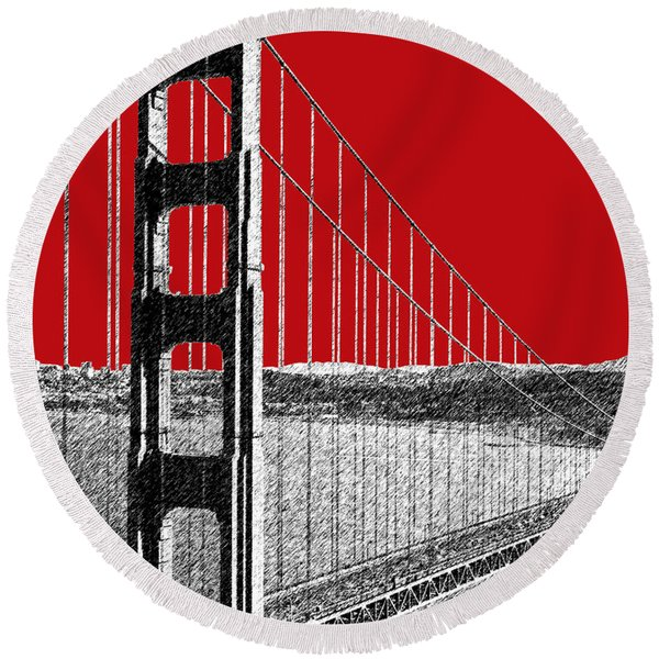 Golden Gate Bridge - Dk Red Round Beach Towel