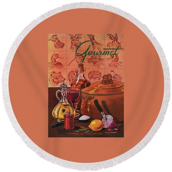 Gourmet Cover Featuring A Casserole Pot Round Beach Towel