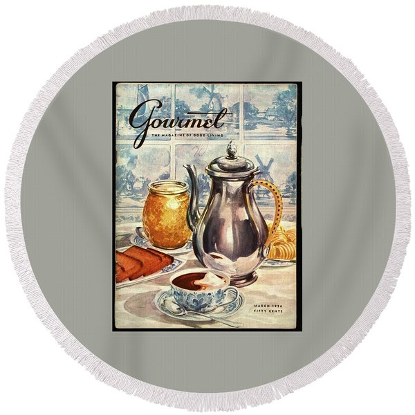 Gourmet Cover Featuring An Illustration Round Beach Towel