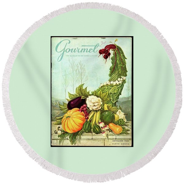 Gourmet Cover Illustration Of A Cornucopia Round Beach Towel