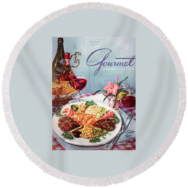 Gourmet Cover Illustration Of A Plate Of Antipasto Round Beach Towel