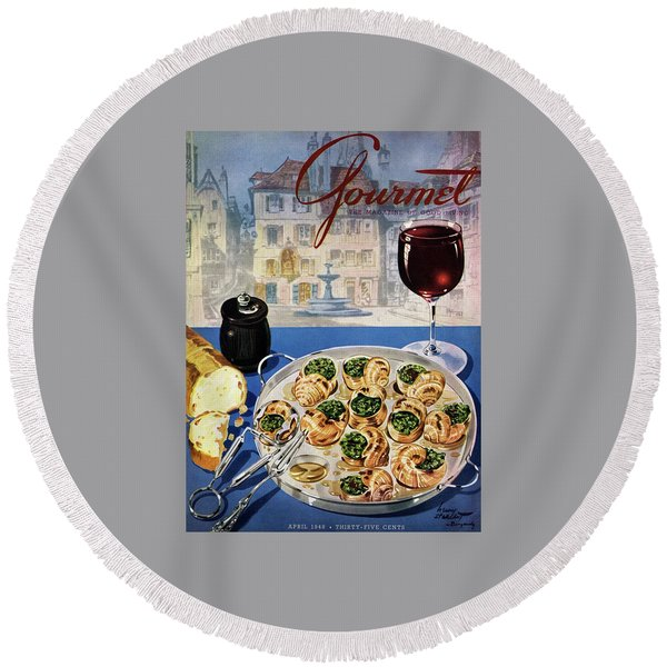 Gourmet Cover Illustration Of A Platter Round Beach Towel