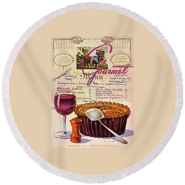 Gourmet Cover Illustration Of Deep Dish Pie Round Beach Towel