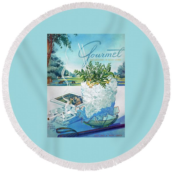 Gourmet Cover Illustration Of Mint Julep Packed Round Beach Towel