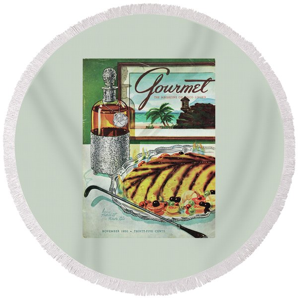 Gourmet Cover Of An Omelette Au Ruhm Round Beach Towel