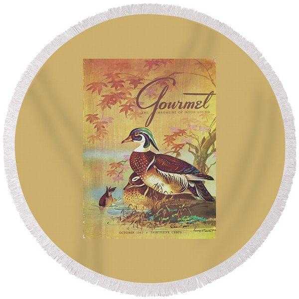 Gourmet Cover Of Wood Ducks Round Beach Towel