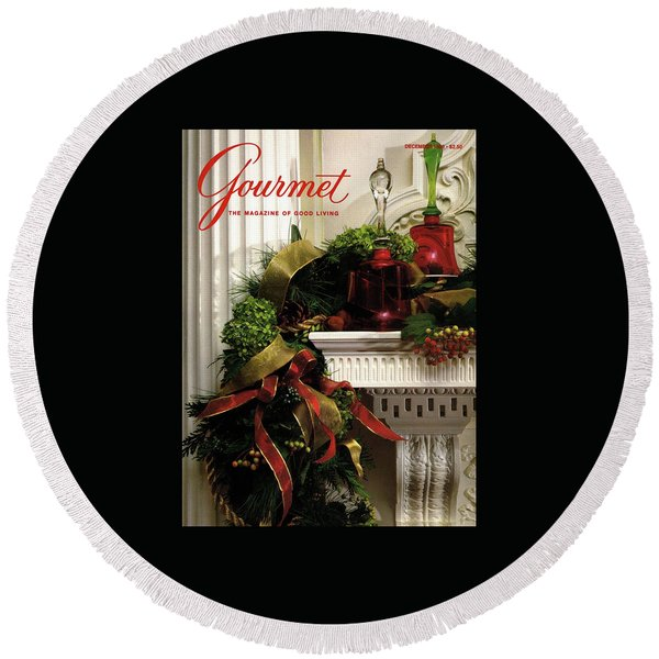 Gourmet Magazine Cover Featuring Christmas Garland Round Beach Towel