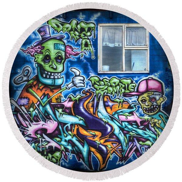 Graffiti City Round Beach Towel