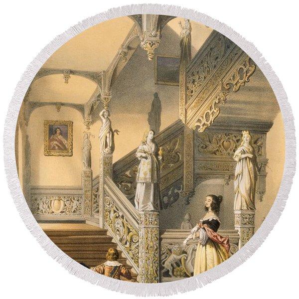 Grand Elizabethan Staircase Round Beach Towel