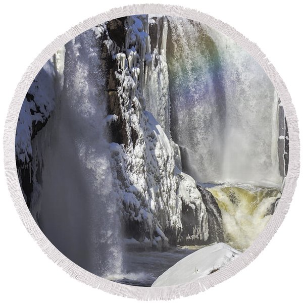 Great Falls And A Rainbow Round Beach Towel
