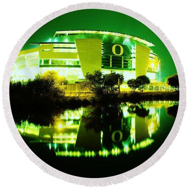Green Power- Autzen At Night Round Beach Towel