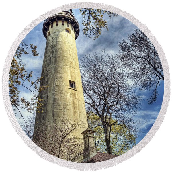 Grosse Point Lighthouse Color Round Beach Towel