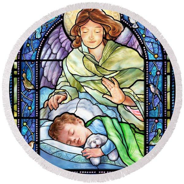 Guardian Angel With Sleeping Boy Round Beach Towel