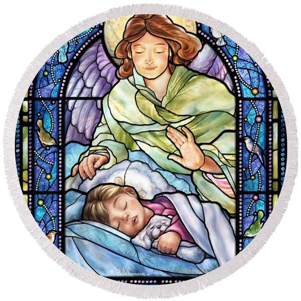 Guardian Angel With Sleeping Girl Round Beach Towel