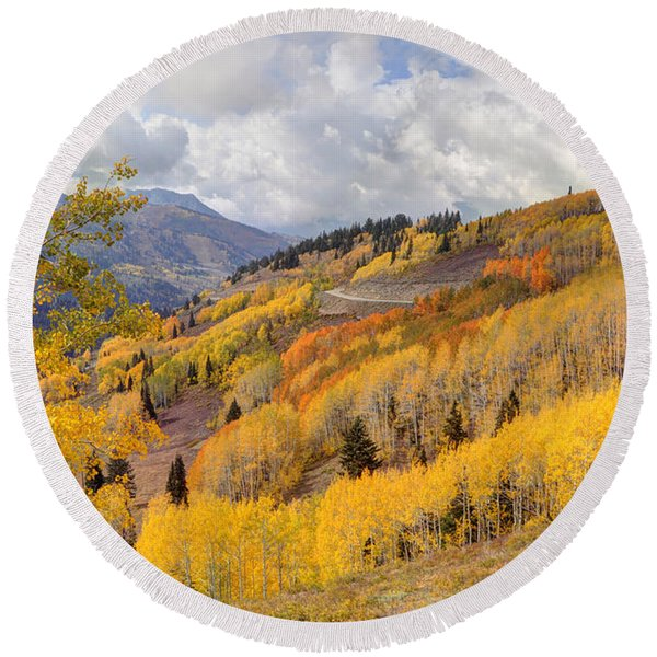 Guardsman Pass Aspen - Big Cottonwood Canyon - Utah Round Beach Towel