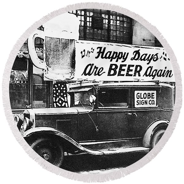 Round Beach Towel featuring the photograph Happy Days Are Beer Again by Digital Reproductions