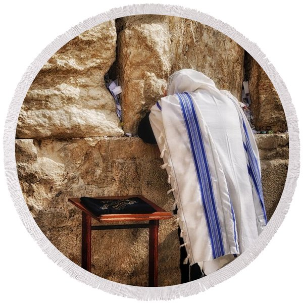 Harken Unto My Prayer O Lord Western Wall Jerusalem Round Beach Towel