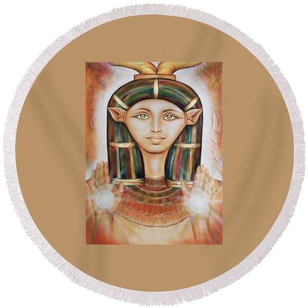 Hathor Rendition Round Beach Towel