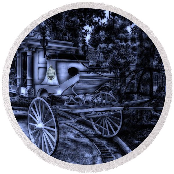 Haunted Mansion Hearse At Midnight New Orleans Disneyland Round Beach Towel