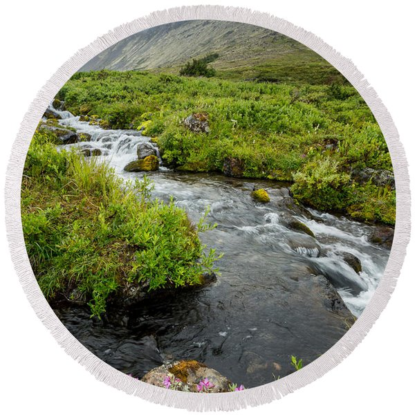 Round Beach Towel featuring the photograph Headwaters In Summer by Tim Newton