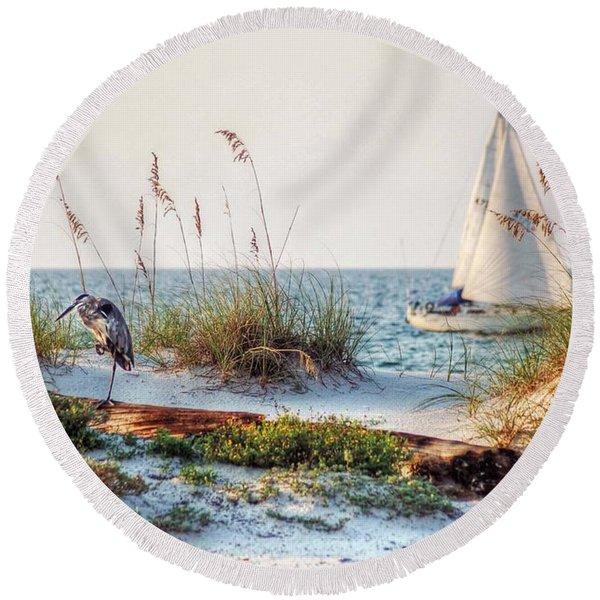 Heron And Sailboat Round Beach Towel