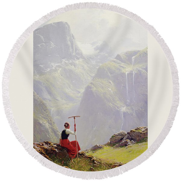 High In The Mountains Round Beach Towel