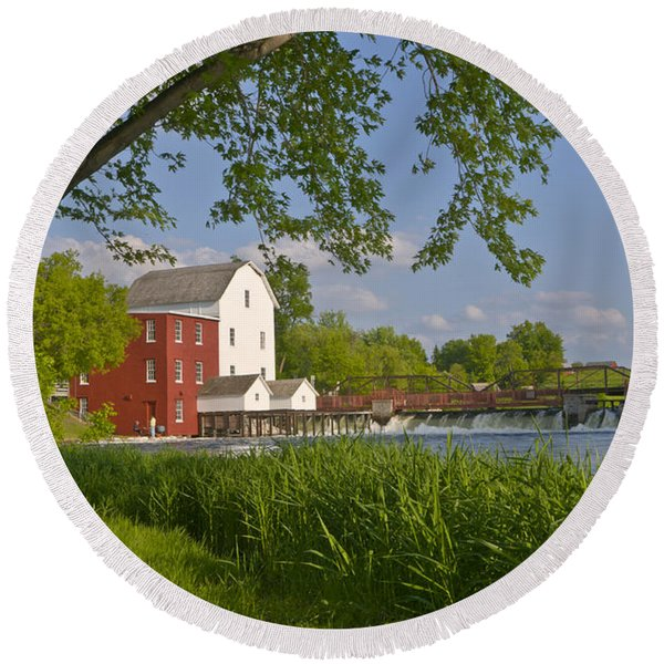 Historic Flour Mill By A River Round Beach Towel